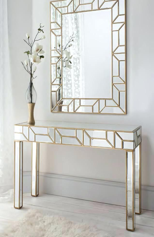 Hall Table And Mirror Set Console Entryway Foyer Mirrored