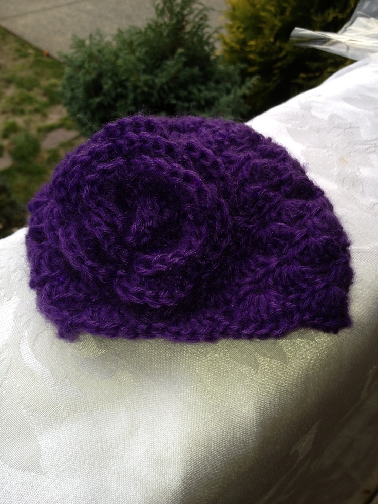 Purple Sequinned Shell Beanie with Rose