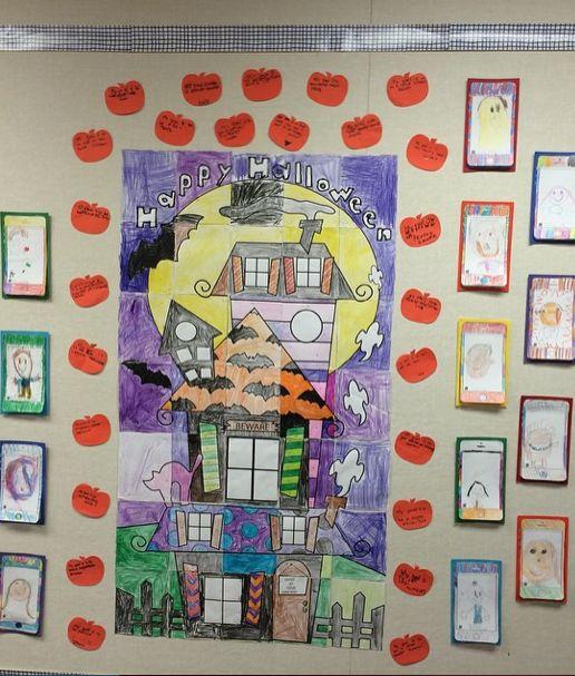 Collaborative Classroom Pilot Resources ~ Halloween haunted house classroom collaborative mosaic