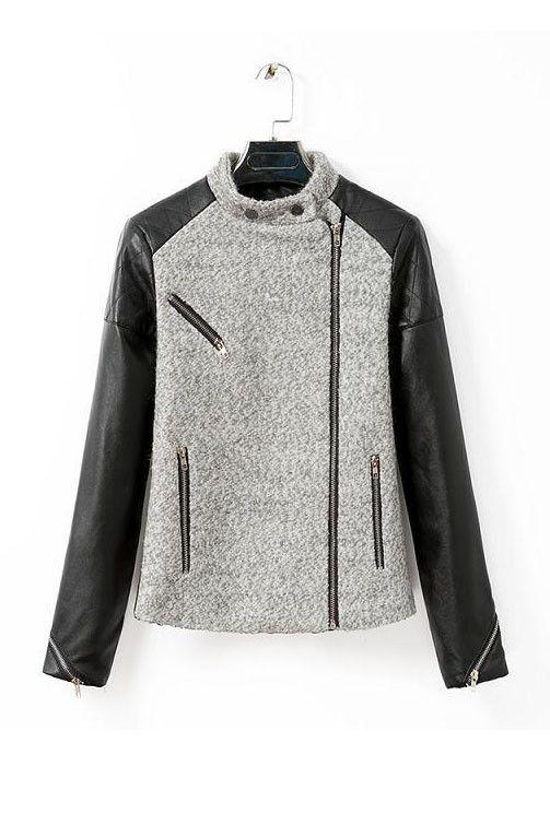 Mckenzie Color Block Shearling Biker Faux Leather Jacket