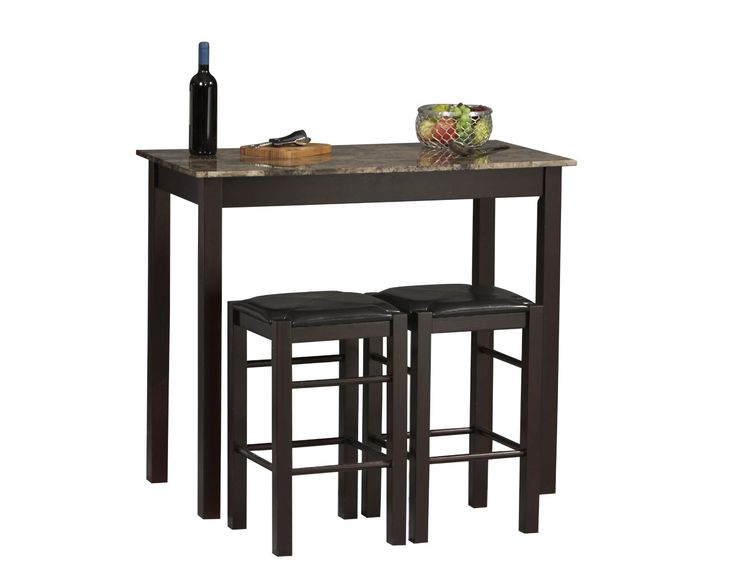 Counter Height Table With Two Backless Stools. Product: 1 Rectangular Table  And 2 Backless Counter Stools Construction Material: Solid Wood, Faux  Stone, ...