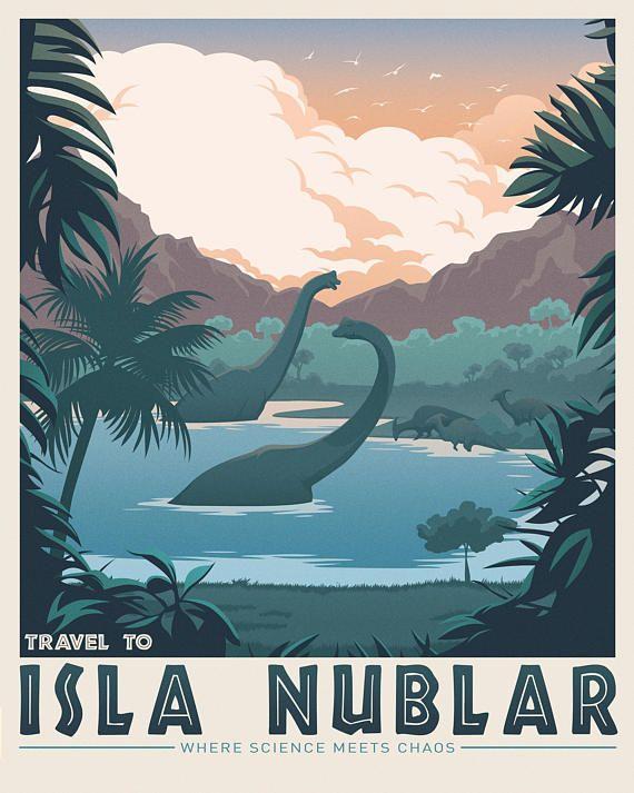 Isla Nublar. Parque Jurásico. Ciencia Ficción libro. Poster