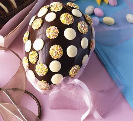 Simple chocolate button egg. Make your own Easter eggs. It's much easier than you'd think and you can add personal touch.