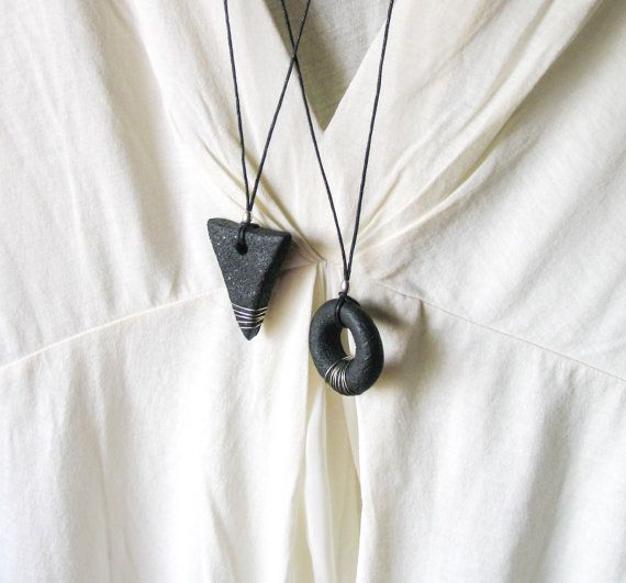 Black Geometric Universe Code Pendant Necklace by totalhandmadeD