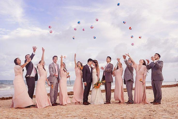 Cancun Destination Wedding at Secrets Maroma Beach, MX  Fun wedding party photo shoot!   Photographer: Quetzal Wedding Photo