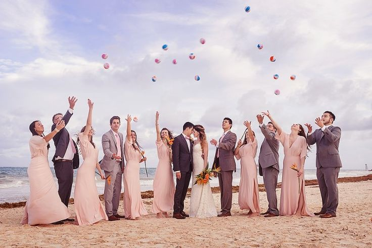 Cancun Destination Wedding at Secrets Maroma Beach, MX  Fun wedding party photo shoot!   Photographer: Quetzal Wedding Photo