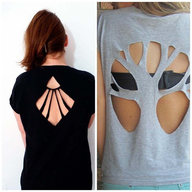 Cut-out t-shirt back patterns. From http://www.buzzfeed.com/pippa/2-cool-new-ways-to-cut-up-a-t-shirt repurposed clothing