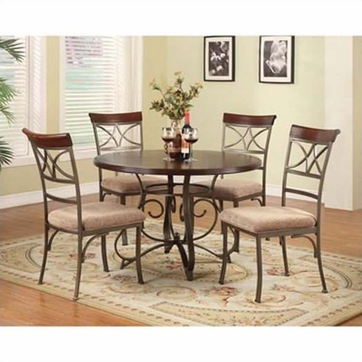5piece rustic dining table chairs set wooden metal kitchen traditional cherry