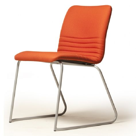 Move Visitor Seating.  Upholstered chairs, in leather or in fabric covers, available with a stackable chrome or powder coat sled base. This versatile series of seating is suitable for a wide range of destinations, from lounges to meeting rooms and breakout zones.