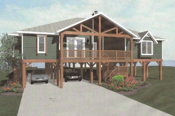 House plan 14 252 build on ground level no stilts for Lake house plans on stilts