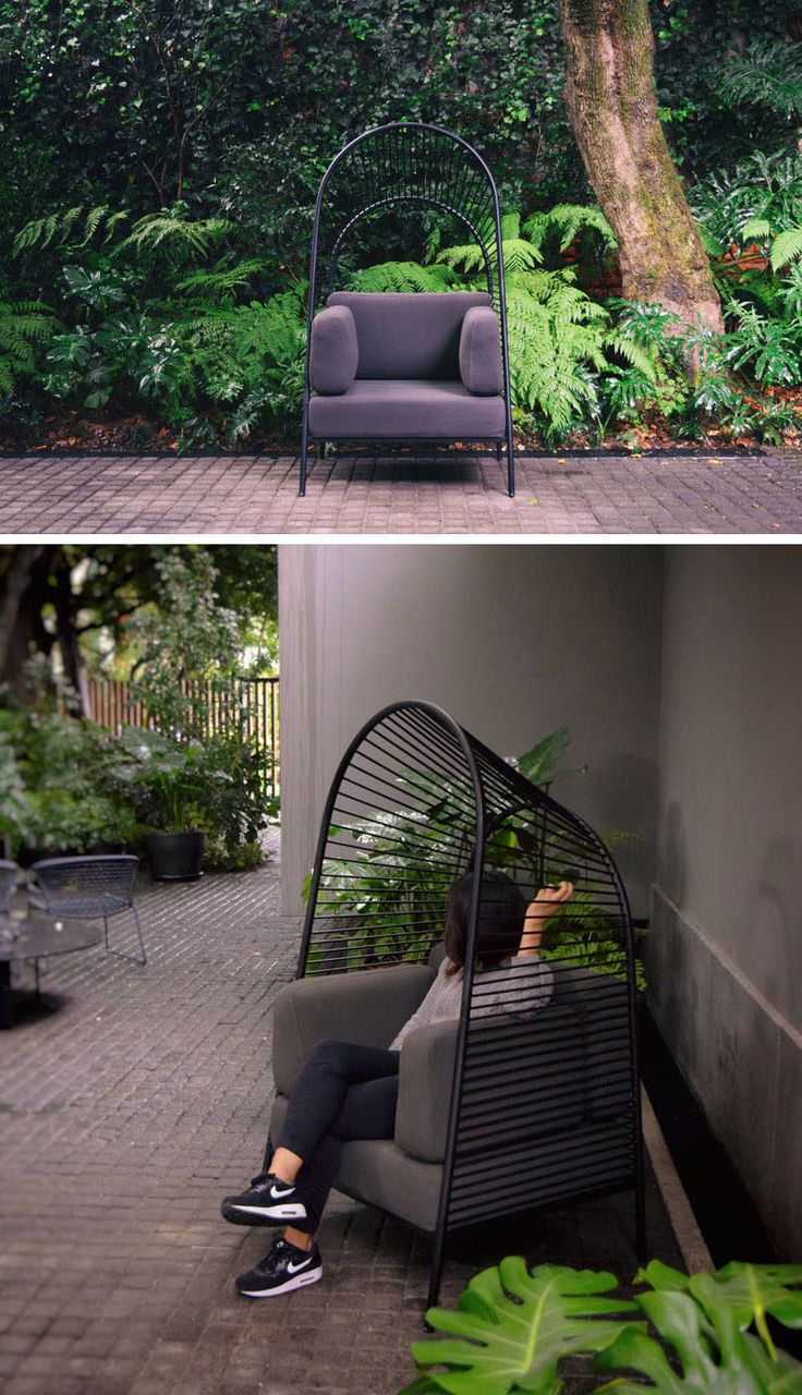 Christian Vivanco has collaborated with Los Patrones to create Felix, a contemporary chair that can be used both indoors and outdoors, and it has its own personal pergola. #Furniture #Design #ModernSeating