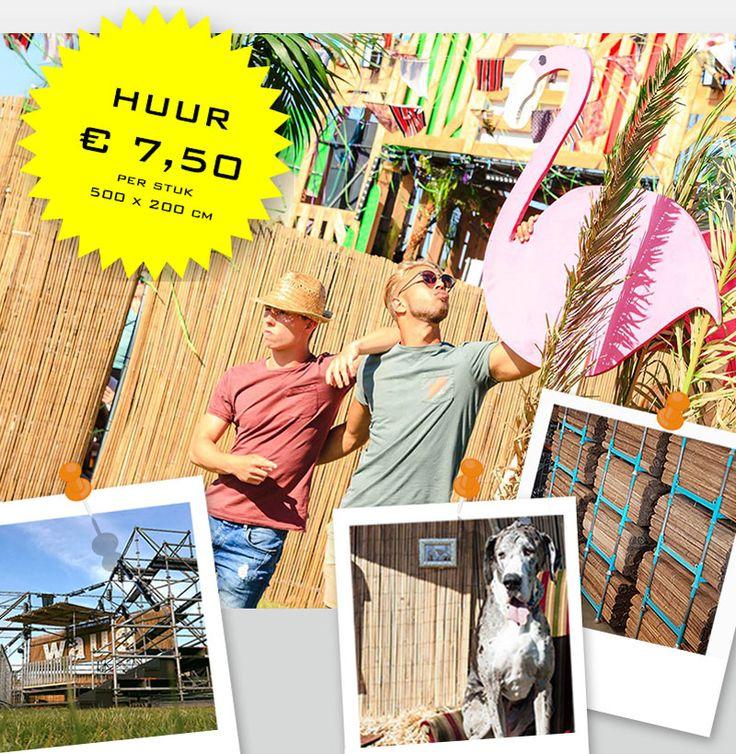Hoeveel strekkende meter heb je nodig? Bij ons héél véél bamboematten te huur.