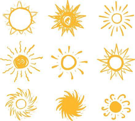 Soleil dessiné vecteur icônes - Illustration vectorielle