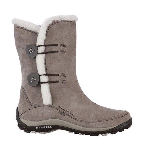 MERRELL mer yarra grey Perrysport - Deze Mer Yarra Grey van Merell zijn ideaal voor outdooractiviteiten. De schoen heeft aan de binnenkant een warm materiaal zodat je voeten lekker warm blijven tijdens koudere omstandigheden. De zool van de schoen zorgt ervoor dat je extra grip hebt. Aan de zijkant zitten knopen met elastiek waarmee je de schoen vast kunt maken.