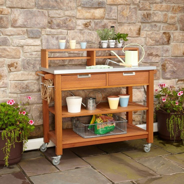 Garden and Patio, Modern Potting Bench With Drawer And Storage On Wheels Plus Metal Top Plus Furniture Shelf And Towel Hooks Ideas ~ Potting Bench with Storage