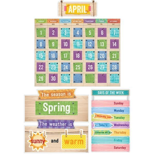 The Upcyle Style Calendar Set bulletin board brings the cozy look and feel of rustic wood, familiar fabrics and playful textures to your calendar bulletin board