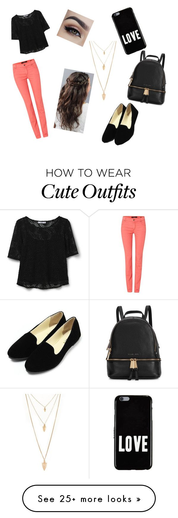 """Cute school outfit"" by ghouse-arzoo on Polyvore featuring MANGO, Oui, Givenchy, Forever 21 and Michael Kors"