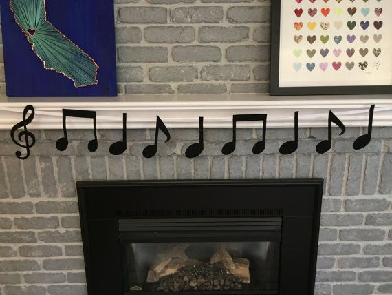 Music Notes Felt Bunting Flags Banner/ Music Party Banner/ Band Banner/ Music Notes Banner/ Music Bunting/ Musical Theme Banner