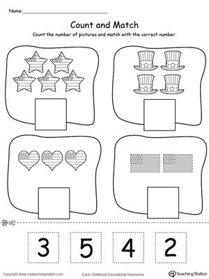 **FREE** 4th of July Count and Match Worksheet. Count and match the numbers in this patriotic math printable worksheet. #4thofjuly #patriotic