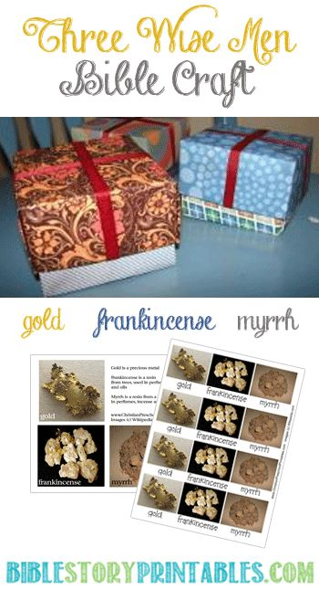 Three Wise Men Printable Craft.  Real Photos of Gold, Frankincense and Myrrh alongside a DIY origami box