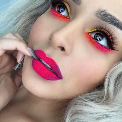 neon eyes & lips #festival #makeup