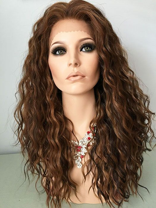3 Tone Brown, Blonde, Auburn, Mix, Long Wig, HEAT OK, Curly. Lace Front Wig