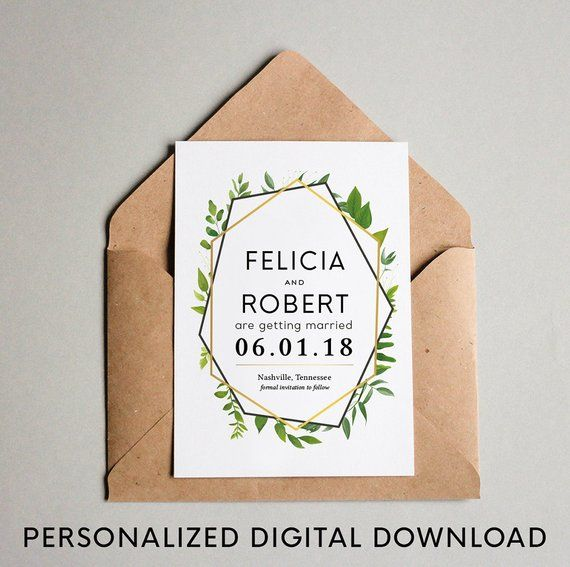 greenery save the date template download green gold wedding save