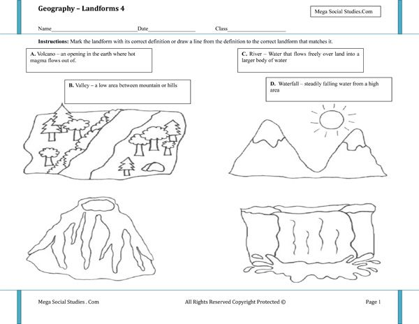 printable landform worksheets landforms for kids volcano valley river waterfall best. Black Bedroom Furniture Sets. Home Design Ideas