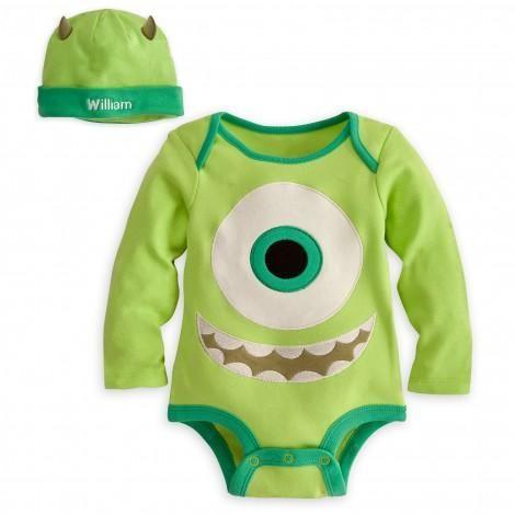 Mike Wazowski Disney Cuddly Bodysuit Set for Baby - Personalizable