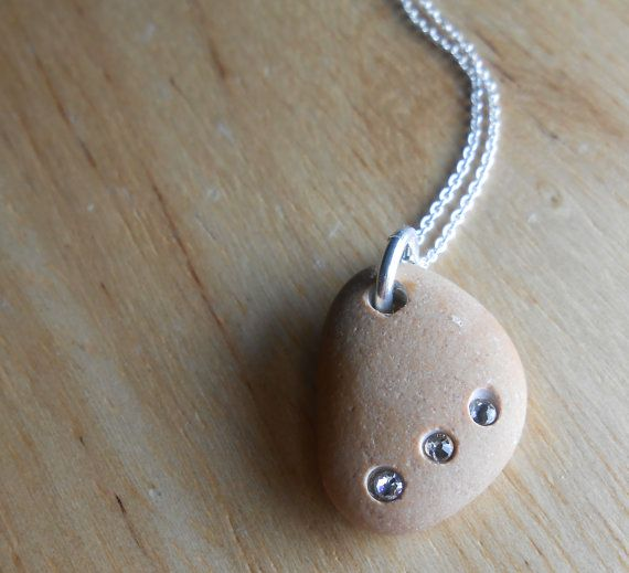 Beach Stone Jewelry Pebble Necklace TRE DOLCI by SeaFindDesigns