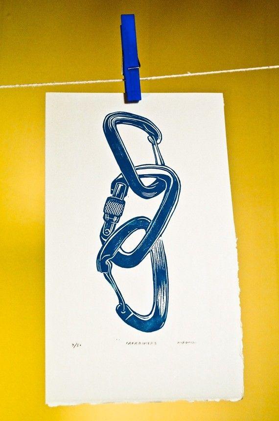 Carabiners Linocut print by quaillanepress on Etsy, $10.00