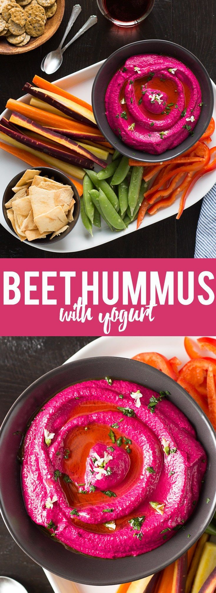 This Creamy Beet Hummus with Yogurt will soon be your favorite way to eat your beets! Roasted beets, tahini and yogurt are blended together to make a creamy and healthy dip with a bright pink color that will blow your mind!  Note: This was soooo good