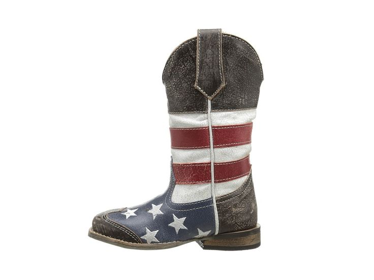 Roper Kids American Flag Square Toe Boot (Toddler/Little Kid) Cowboy Boots Blue