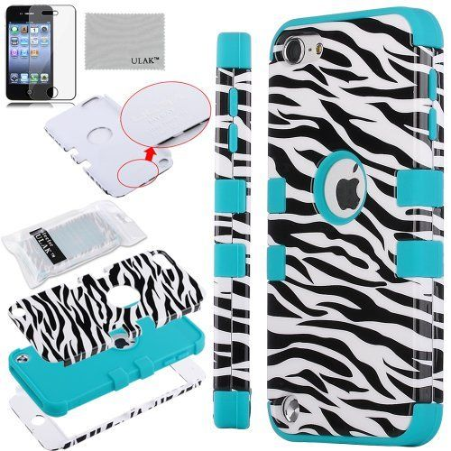 Pandamimi ULAK(TM) 3-Piece Defender Hybrid Impact Zebra Skin Hard Case Cover and Soft Silicon Inner Shell for Apple iPod Touch 5 5th Generation + Screen Protector (cleaning cloth with ULAK Logo) (Zebra Skin & Blue) by ULAK, http://www.amazon.com/dp/B00EOMKGXG/ref=cm_sw_r_pi_dp_.KYgsb0NNKM3F