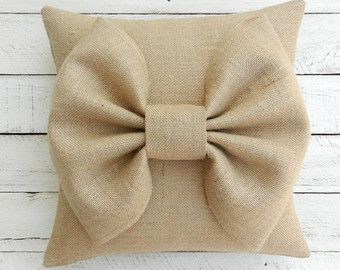 Burlap Bow Pillow Cover 14 x 14 by BurlapNBlossoms on Etsy
