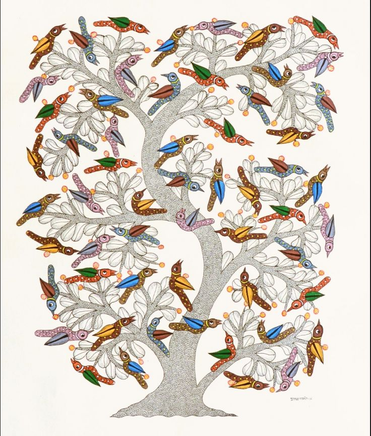 'Tree and Birds' by Dwarka Parasate via FolkPaintingsIndia
