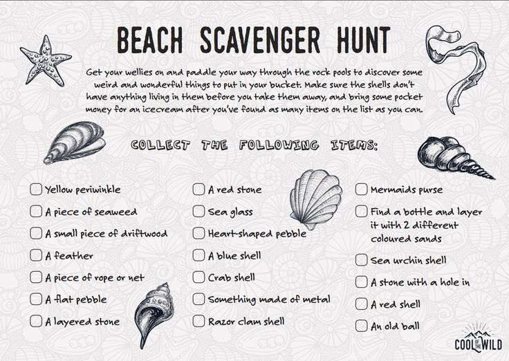 Things to do at the beach with kids - Beach Scavenger Hunt