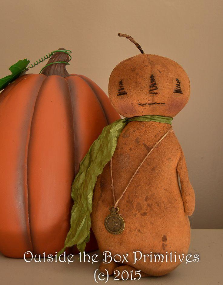 www.outsidetheboxprimitives.com  Primitive pumpkin doll halloween