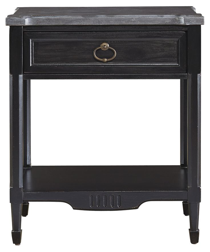 Set in a sturdy hardwood frame, this timeless design features a single drawer, antiqued steel hardware, and an open shelf with fluted carvings. A glossy black finish locks in the look.
