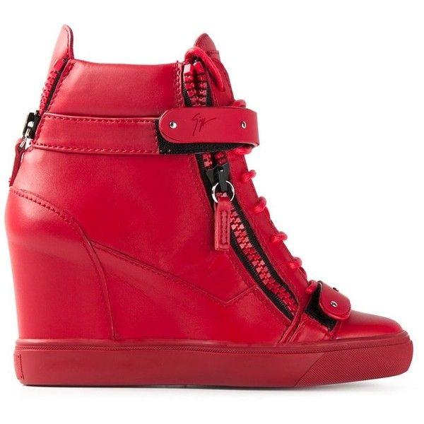Giuseppe Zanotti Design Wedge Hi-Top Sneakers ($845) ❤ liked on Polyvore featuring shoes, sneakers, wedges, red, leather sneakers, leather wedge sneakers, red shoes, red high tops and wedge sneakers