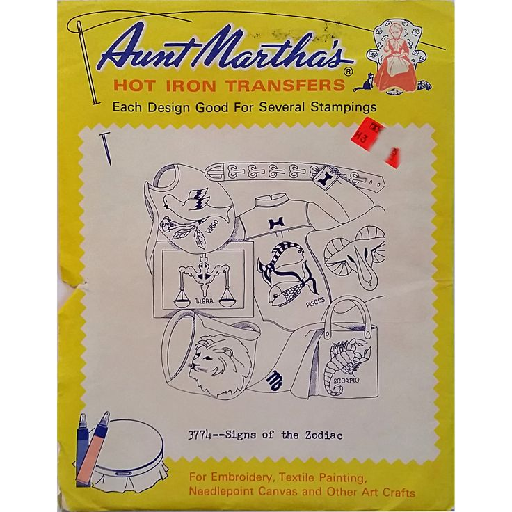 Signs of the Zodiac Aunt Marthas 3774 Vintage Hot Iron Transfer Needlework am17