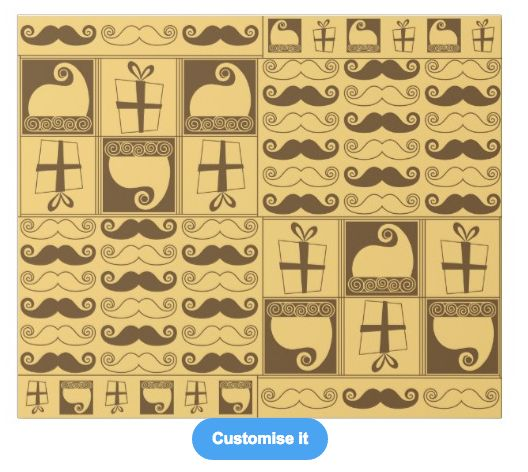 """A golden mustached christmas"" custom christmas wrapping paper pattern on sale in my zazzle store! www.zazzle.com/martinaterzi check it out!"