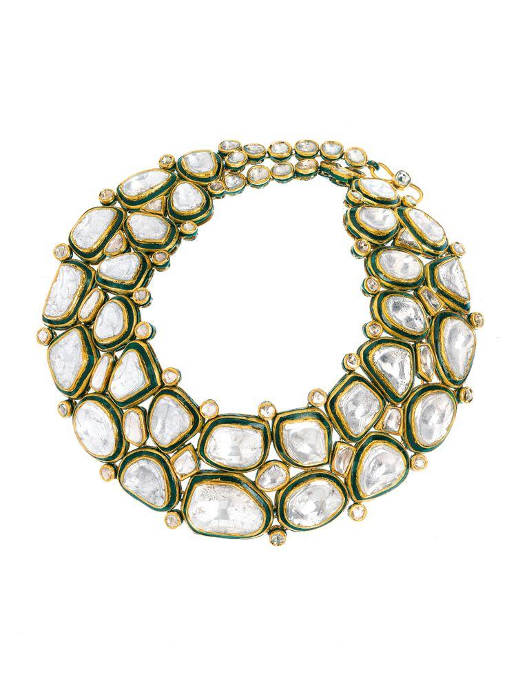 Table-cut diamonds set in 22K gold choker