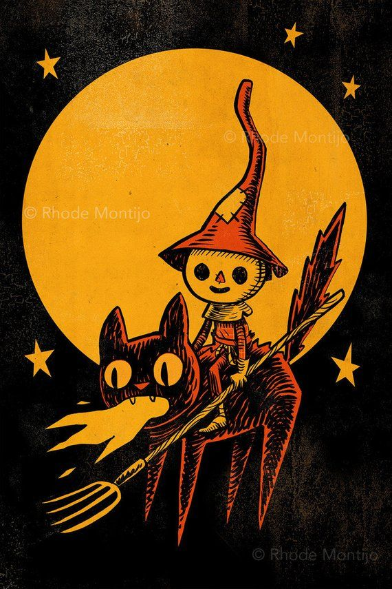 Scarecrow on Flaming Cat 12″ x 18″ Signed Halloween Art Print by Rhode Montijo