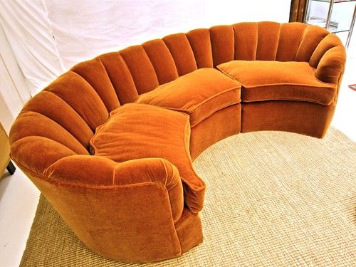 Curved sofa donghia fabric circa 1940s relaxing area for Curved velvet sectional sofa