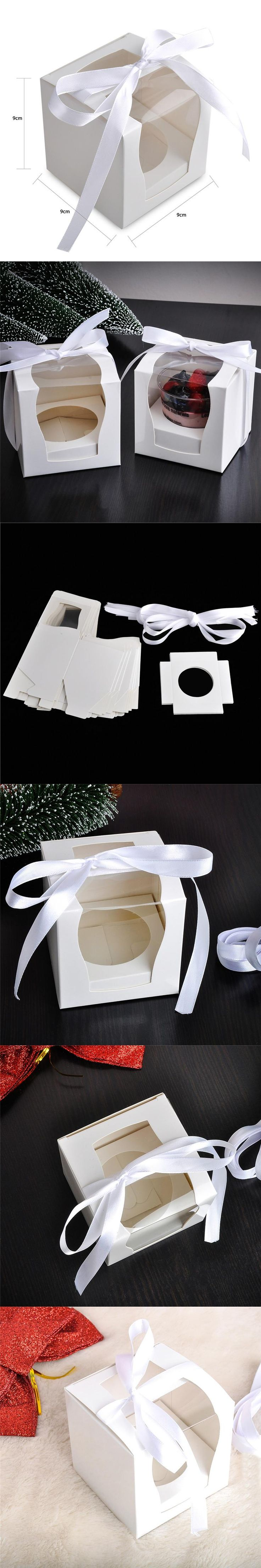 12pcs/lot cupcake boxes candy box with transparent pvc window wedding favor box birthday shower party pudding package case