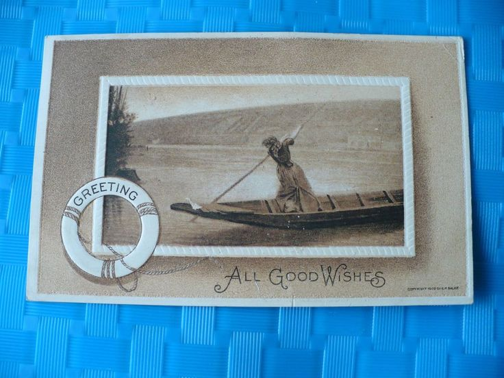 1912 S.M. Salke Artist Postcard Greetings All good Wishes Women Rowing Canoe #BestWishes