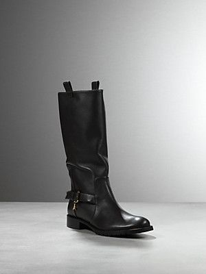 Buy Low boot in leather, in nappa calfskin, with buckle, with Patrizia Pepe logo medal, on the right one only, Patrizia Pepe Every Season Super Style, Leg height 30cm from the heel