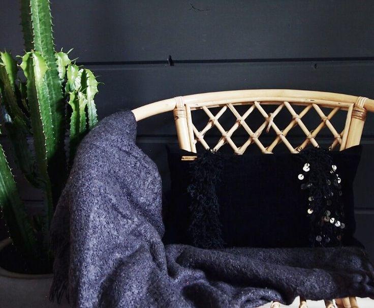 Black Handira pillow for moody interior.