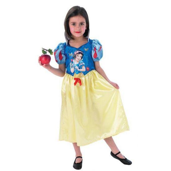 Sneeuwwitje jurkje voor meisjes. Deze Sneeuwwitje jurk heeft een lange gele rok, pofmouwtjes en een afbeelding van Sneeuwwitje op de voorzijde.